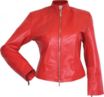 Ladies Leather jacket fashion lamb Nappa-leather,color: Red – image 1