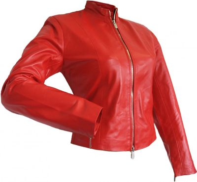 Ladies Leather jacket fashion lamb Nappa-leather,color: Red – image 3
