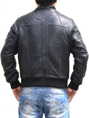 Men Leather jacket fashion sheepskin lamb Nappa-leather,colour:Black – image 2
