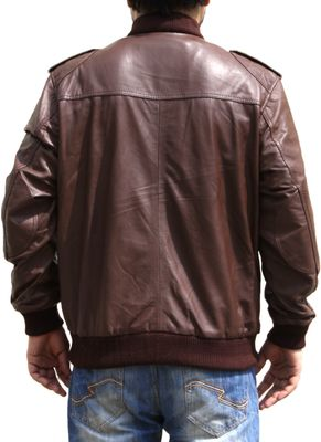 Men Leather jacket fashion sheepskin lamb Nappa-leather, colour:Brown – image 4