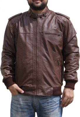 Men Leather jacket fashion sheepskin lamb Nappa-leather, colour:Brown – image 2