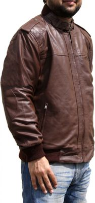 Men Leather jacket fashion sheepskin lamb Nappa-leather, colour:Brown – image 3