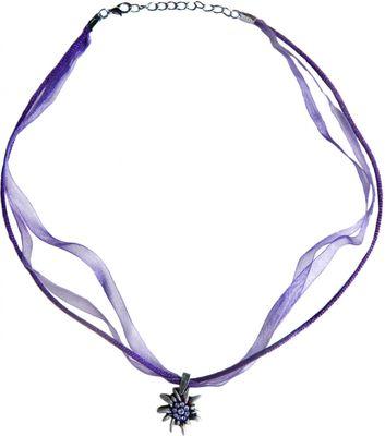 Trachtenkette Edelweiß Satin Chiffon Straßsteine Metall Tracht Kette lila