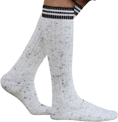 Long traditional socks, knee lengh stockings, braided-look,Color:Creme/Motteld – image 1