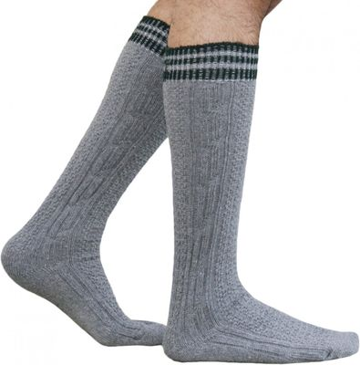 Long traditional socks, knee lengh stockings, braided-look,Color: Grey – image 1