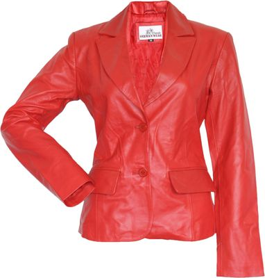 Ladies Leather jacket fashion lamb Nappa-leather, Colour:red – image 1