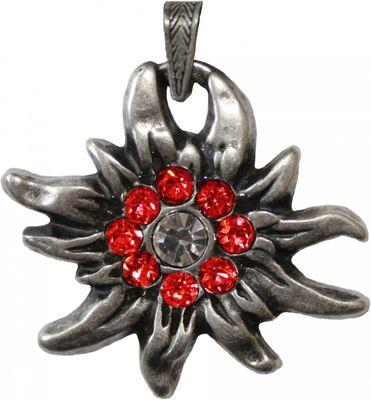 German Wear, Trachtenkette Edelweiß Satin Chiffon Straßsteine Metall 3,5cm rot – Bild 3