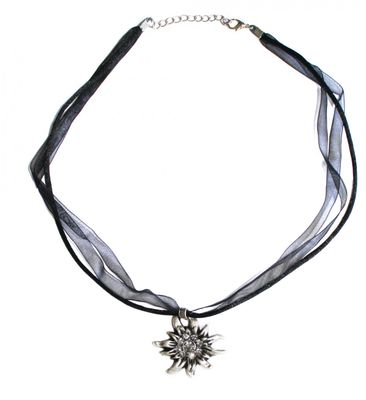 German Wear, Trachtenkette Edelweiß Satin Chiffon Straßsteine Metall Tracht Kette 3,5cm schwarz – Bild 2