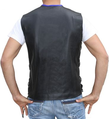 Leather Motorcycle Vest Leathervest Bikervest black/blue