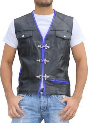 Leather Motorcycle Vest Leathervest Bikervest black/blue