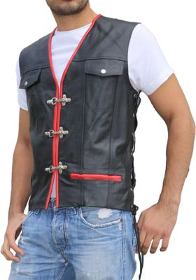Leather Motorcycle Vest Leathervest Bikervest black/red