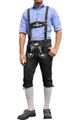 Knee length bavarian Jeans Lederhosen and Suspenders for Oktoberfest, colour:black