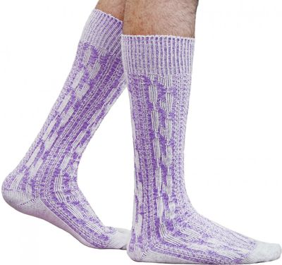 Short traditional socks, stockings, braided-look, colour: Purple/ mottled – image 1