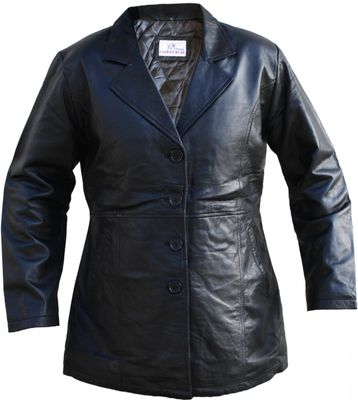 Ladies Leather Coat Lamb Nappa-Leather black