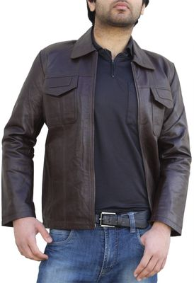 Men Leather jacket fashion sheepskin lamb in Nappa-leather brown – image 1