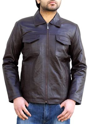 Men Leather jacket fashion sheepskin lamb in Nappa-leather brown – image 2