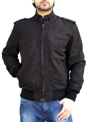 Men Leather jacket Nubuk leather brown