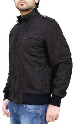 Men Leather jacket fashion Nubuk leather brown – image 3