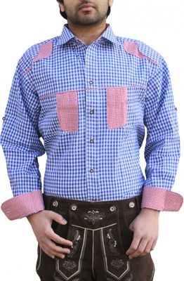 Bavarian shirt for men with blue and white check