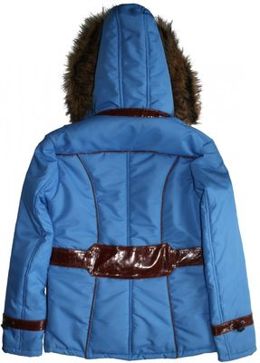 Ladies Jacket Faux Fur Trim hood leather Patched in Azure Blue – image 3