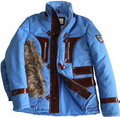 Ladies Jacket Faux Fur Trim hood leather Patched in Azure Blue – image 1