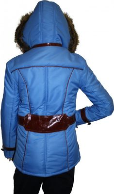 Ladies Jacket Faux Fur Trim hood leather Patched in Azure Blue – image 5