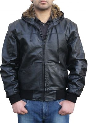 Leather hoodie hooded jacket fashion Real cowhide Black – image 1