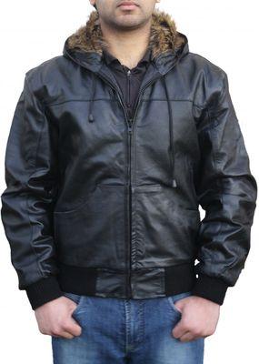 Leather hoodie hooded jacket fashion Real cowhide Black – image 1