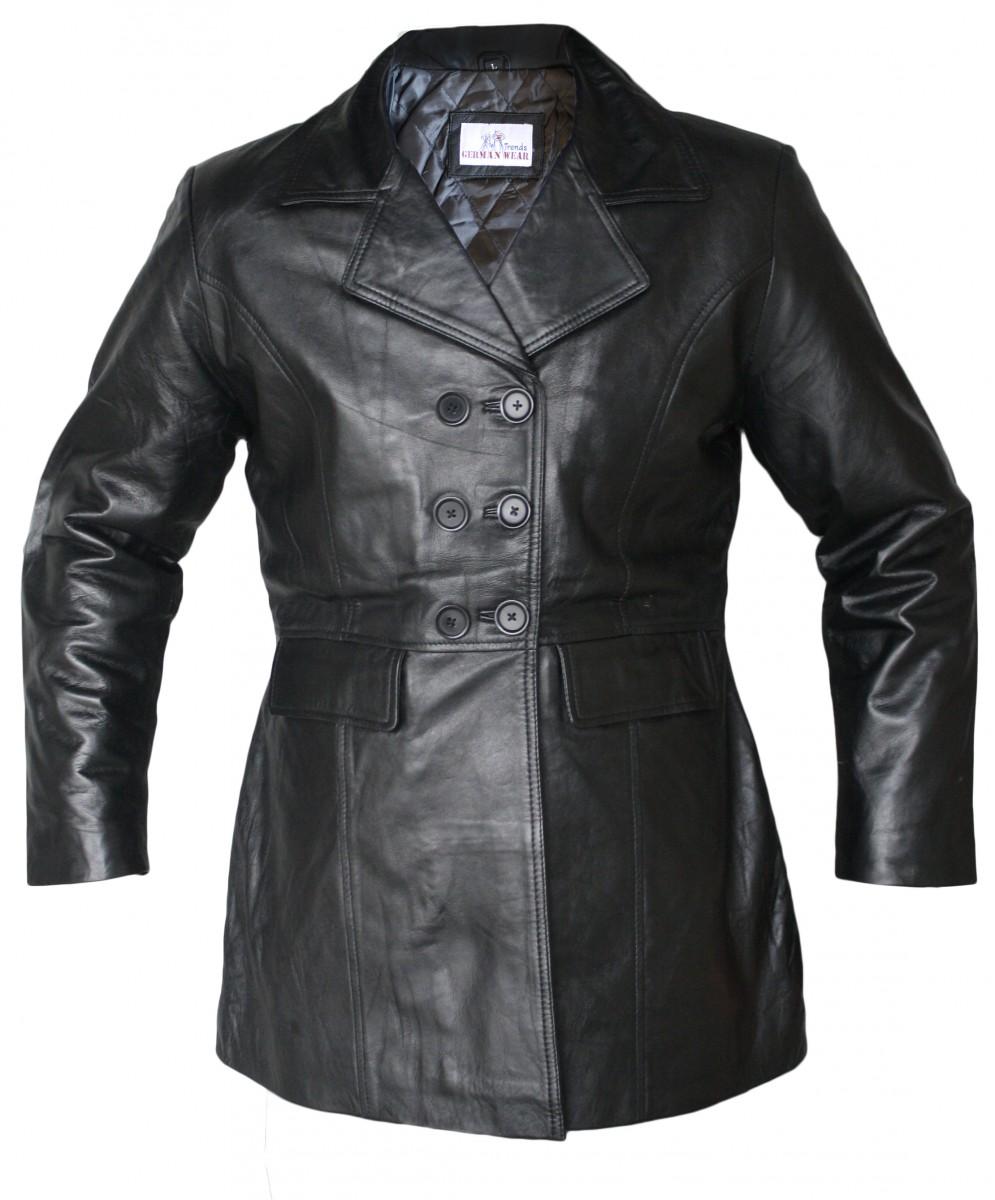 german wear damen midi ledermantel trenchcoat echtleder mantel aus lammnappa leder schwarz. Black Bedroom Furniture Sets. Home Design Ideas