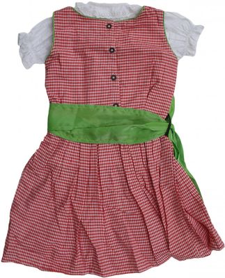 3-Pieces Girls Dirndl Trachten For Kids red/green – image 2
