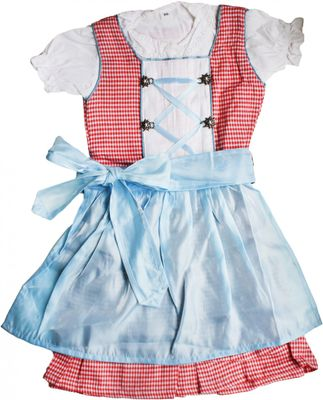 3-Pieces Girls Dirndl Trachten For Kids red/blue – image 1