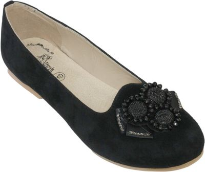 Ballerina round toe shoes made of genuine suede leather, Black – image 1
