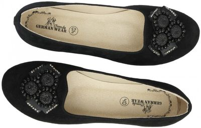 Ballerina round toe shoes made of genuine suede leather, Black – image 4