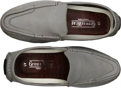 Driving moccasin moc Casual Shoes Nubuck Leather Light Grey – image 5
