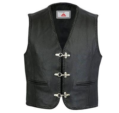 Leather Motorcycle Vest Leathervest Bikervest black