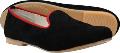Ballerina round toe shoes made of genuine suede leather, Black/Red – image 3