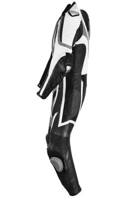 Motorbike motorcycle leathers 1 one piece suit real Cowhide leather Grey/Black – image 5
