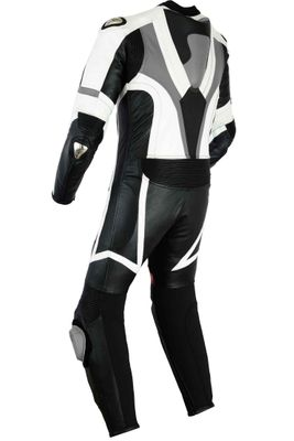 Motorbike motorcycle leathers 1 one piece suit real Cowhide leather Grey/Black – image 3