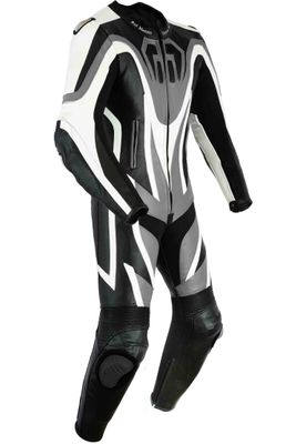 Motorbike motorcycle leathers 1 one piece suit real Cowhide leather Grey/Black – image 2