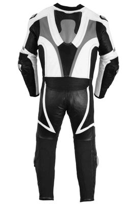 Motorbike motorcycle leathers 1 one piece suit real Cowhide leather Grey/Black – image 4