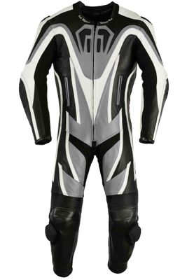 Motorbike motorcycle leathers 1 one piece suit real Cowhide leather Grey/Black – image 1