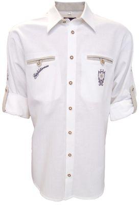 German Wear, Trachtenhemd für Lederhosen mit Stickerei weiß