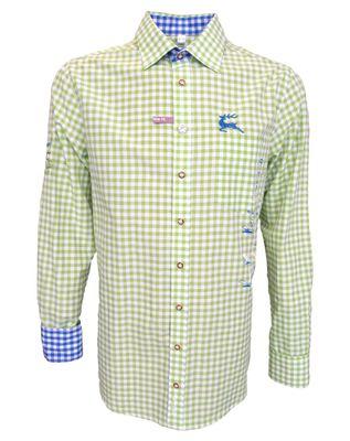 German Wear, Trachtenhemd Slim Fit  für Lederhosen mit Stickerei giftgrün