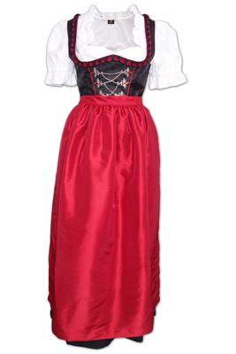 2-Piece Long Dirndl made of polyester, color: black / medium red
