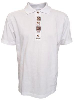 German Wear, Trachten Poloshirt weiß mit und brauner Stickerei
