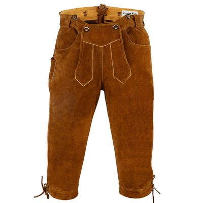 Lederhosen Knee Lenght Pants Breeches Made Of Suede Leather,Color: Maroon