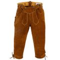 Lederhosen Knee Lenght Pants Breeches Made Of Suede Leather,Color: Maroon 001