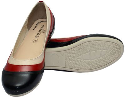 Ballerinas made ​​of genuine leather in black/red/cream – image 3