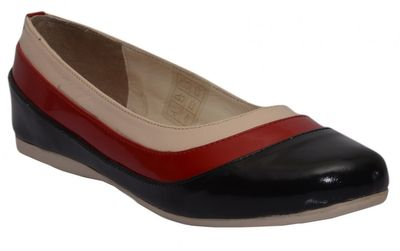 Ballerinas made ​​of genuine leather in black/red/cream – image 1