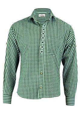 Traditional Bavarian Shirt For Lederhosen/Oktoberfest with Edelweiss embroidery,Color:Dark Blue/checkered – image 4